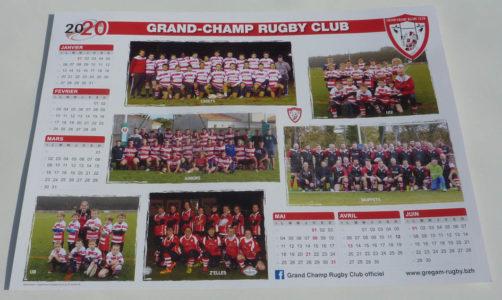 impression de calendriers 2020 au format A3 pour le Club Rugby Grand-Champ